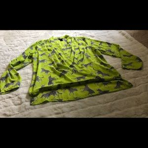 Ann Taylor Factory Lime Green Leopard Wrap Blouse